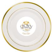 CROWN DINNERWARE DINNER PLATE 10 INCH 10 PACK EXECUTIVE COLLECTION WHITE/GOLD