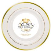 CROWN DINNERWARE DESSERT PLATE 10 PK 7 INCH EXECUTIVE COLLECTION WHITE/GOLD