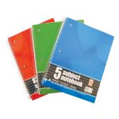 SPIRAL NOTEBOOK 150 SHEET 8 X 10.5 INCH 5 SUBJECT WIDE RULED