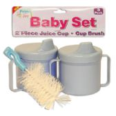 BABY SET 3 PK - 2 PC 8 OZ JUICE CUPS + 1 PC CUP BRUSH ASSORTED COLORS