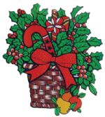 CHRISTMAS PAPER CUT OUTS HOLLY BASKET DESIGN 21x18 INCH