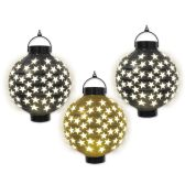 Light-Up Paper Lanterns asstd 2-black & 1-gold; requires 2 AAA batteries not included