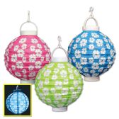 Light-Up Hibiscus Paper Lanterns asstd colors; requires 2 AAA batteries not included