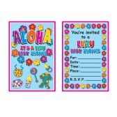 Hula Baby Invitations envelopes included; prtd 2 sides