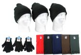 Adult Beanie Knit Hats, Magic Gloves, and Solid Scarves Combo Packs
