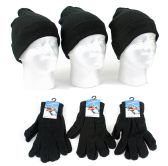 Adult Cuffed Knit Hats and Magic Gloves Combo Packs