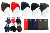 Cuffed Winter Knit Hats, Magic Gloves, and Solid Fleece Scarves