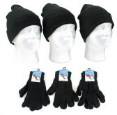 Adult Beanie Knit Hats and Magic Gloves Combo Packs