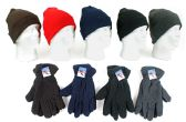 Cuffed Winter Knit Hats and Fleece Gloves Combo Packs