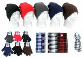 Adult Beanie Knit Hats, Magic Gloves, and Checkered Scarves Combo Packs