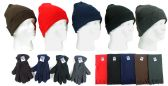Cuffed Winter Knit Hats, Men's Fleece Gloves, and Assorted Scarves
