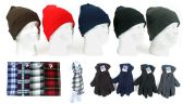 Cuffed Winter Hats, Fleece Gloves, and Checkered Scarves Combo Packs