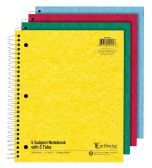 TOPS Earthwise by Ampad 5 Subject Notebooks with Tabs, 11 x 8.875, Assorted, 15lb. Paper