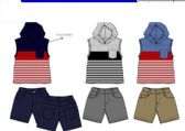 BOYS TWILL SHORT SETS 3 COLORS SIZE 4-7
