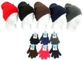 Children's Cuffed Knit Hats and Magic Gloves Combo Packs