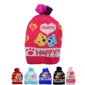 KID WINTER HAT HAPPY PRINT