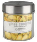 Home Basics Small 25 oz. Round Glass Canister with Air-Tight Stainless Steel Twist Top Lid, Clear