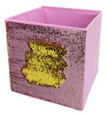 "Home Basics 12"" Reversible Mermaid Sequin Storage Bin, Pink/Gold"