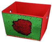 Home Basics  Medium Reversible Sequin Storage Bin, Red/Green
