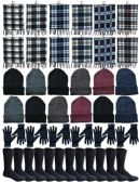 Winter Bundle Care Kit For Men, 4 Piece - Hats Gloves Beanie Fleece Scarf Set In Assorted Colors