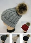 Womens Cable Knit Warm Winter Hat With Pom Pom