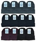 YACHT & SMITH 12 Pack Winter Beanie Hats, Thermal Stretch Unisex Cuffed Plain Skull Knit Hat Cap (Stripes)