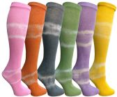Yacht & Smith 6 Pairs Girls Tie Dye Knee High Socks, Anti Microbial, Premium Soft Touch, Kids