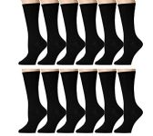 Yacht & Smith Ladies Thin Cotton Black Crew Socks, Size 9-11