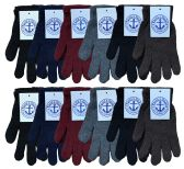 Yacht & Smith Men's Winter Gloves, Magic Stretch Gloves In Assorted Solid Colors 240 Pairs
