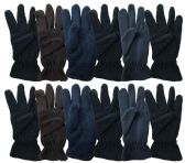 Yacht & Smith Mens Double Layer Fleece Gloves Packed Assorted Colors 144 Pairs