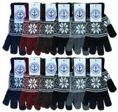Yacht & Smith Snowflake Print Mens Winter Gloves With Stretch Cuff 240 Pairs