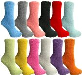 Women's Solid Colored Fuzzy Socks Assorted Colors, Size 9-11