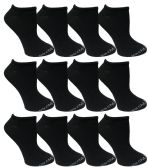 Yacht & Smith Womens Cotton Low Cut No Show Loafer Socks Size 9-11 Solid Black BULK BUY