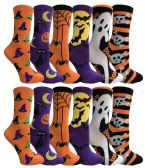 Yacht & Smith Womens Halloween Crew Socks Assorted Prints